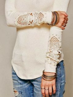 "Arm Crochet White Blouse-""Love the lace on this!"""