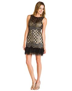 Sue Wong Black Embellished Feather Dress what fun