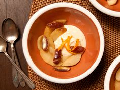 Apple-Date Compote with Apple-Cider Yogurt Cheese Recipe | Epicurious.com foods, chees recip, yogurt chees, dessert recip, appled compot, applecid yogurt, season recip, cook recip, cheese recipes