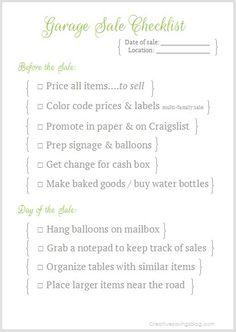Garage Sale Checklist
