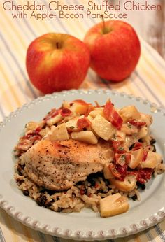 Cheddar Cheese Stuffed Chicken with Apple- Bacon Pan Sauce #recipe