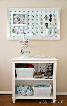 DIY jewelry hanging peg board
