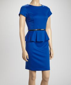 Royal Blue Ponte Belted Peplum Dress | Daily deals for moms, babies and kids