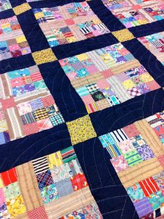 A Piece of Cloth Studio: 1940's Scrap 9 patch Variation Quilt.