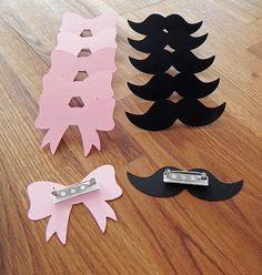 Party Pins Gender Reveal Baby Shower  Die Cut Pink by BabyBinkz, $12.00