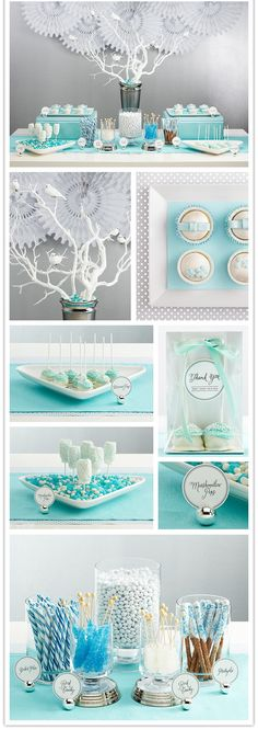 This wonderful collection illustrates how any color can be grouped into a magical display.  Collect glass cake plates, vases and other similar items in your home, use matching candies,and paper goods or fabrics.  This works for any season or occasion.........