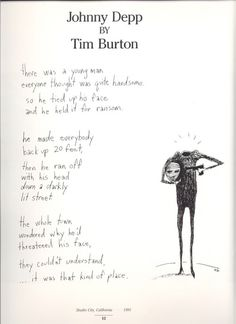 A poem about Johnny Depp by Tim Burton...quite quirky.