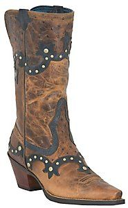 Ariat® Rogue™ Ladies Distressed Brown w/ Ostrich Print Studded Snip Toe Western Boot