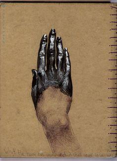 Back of sketchbook.  Sharpie, gel-pen and ballpoint pen.