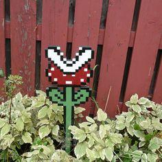 piranha plant  super mario 3 garden art by pixelparty on Etsy, $75.00