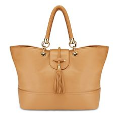 Leather Totes - Braided Tassel Pebbled Leather Tote | C. Wonder