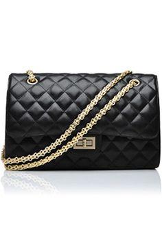Diamond Chain Strap Black Bag    $87.99  romwe.com #Romwe #Fashion #Contest #Pinterest #Girl #Streetfashion #beauty