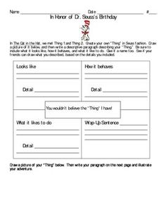 This is an additional writing prompt to accompany The Cat In The Hat, or other activities for Dr. Seuss or Read Across America....
