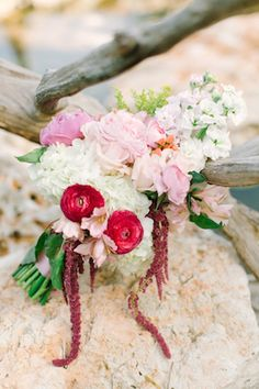 Bridal bouquet with red ranunculus | Mint Photography | see more on: http://burnettsboards.com/2014/08/monets-water-lilies-wedding-inspiration-shoot/