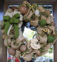 Deco Mesh BURLAP and MOSS WREATH. $135.00, via Etsy.