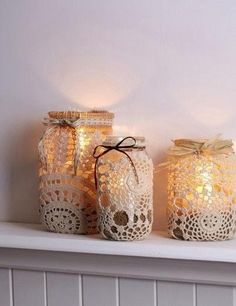 Vintage DIY wedding decorations. Use an old net curtain and tea stain it.