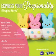 It's a PEEPS™ sleepover! Perfect for party treats for a spring sleepover or for an Easter basket surprise, this bunny trio is cozy in Wilton Candy Melts Candy sleeping bags with candy-confetti polka dots.