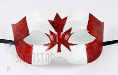 Canadian Canada Flag Mask Masquerade Costume Glitter Fancy Dress Ball Unisex Men