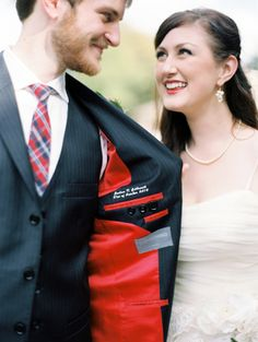 Sweet idea for the #groom! Have the date of your wedding sewn inside his suit!