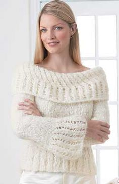 Pretty yet relaxed sweater, feminine with a touch of glam. Sizes XS-XL (32-40 in/81-102 cm) bust. Shown in Patons Divine #6006 Icicle White, knit using 6 mm (US 10) knitting needles.
