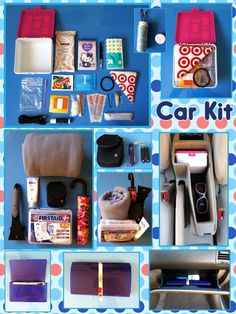 DIY Car Kit = Keeping the car organized and fully stocked with all the important necessities! Click on the pic to see my inspiration for this project!