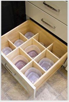 Kitchen Cabinet Drawer with Tupperware Organizer