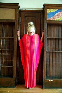 Vtg 60s Accordian Pleated Caftan / Slouch Lounge  / Uber Glam / Neon Maxi Dress. $285.00, via Etsy.