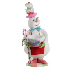 RAZ Gumdrops and Jellybeans 30 in Snowman with Cupcake Hat and Dish cane tabletop, cupcak heaven, bake snowman, tabletop christma, candi cane, candy canes, heaven bake, christma figur, cupcak hat