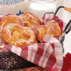 Soft Pretzels, Yum!  Don't worry if you don't have a breadmaker.  I did these without one and they came out great.  After mixing, let rest in covered bowl for approx 45 minutes.  Then roll out dough as recipe states.  Enjoy!  My family did.