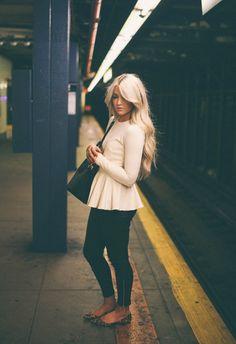 Perfect outfit. Peplum top, black skinnies & leopard flats. Cara Loren