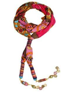 "$24.99 JousJous Fucsia Fabric Handmade Turbante Necklace, 52"" Long #JousJous #necklace #gifts #designer"