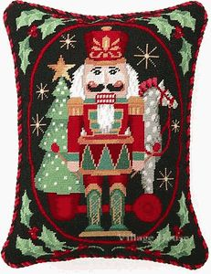 Nutcracker with Pull Toy::Needlepoint Pillow