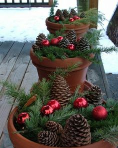 Outdoor Christmas Decoration Ideas - Pine Cones and Baubles in Terracotta Pots - Click Pic for 20 Front Porch Christmas Decorating Ideas