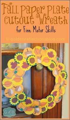 Fall Paper Plate Cutout Wreath for Fine Motor Skills (ages 3+). | goldenreflectionsblog.com #SpecialNeeds #OccupationalTherapyTips