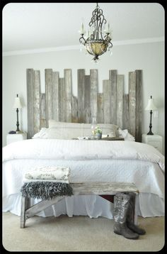 """Rustic chic bedroom... I like how the headboard and bench """"match"""" and tie the whole look together"""