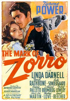 "Movie poster, ""The Mark of Zorro"", starring Tyrone Power, (1940)"