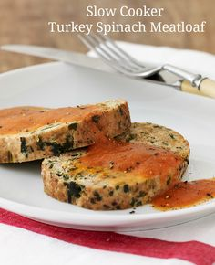 Turkey Spinach Meatloaf with Tomato Sauce made in a slow cooker!!