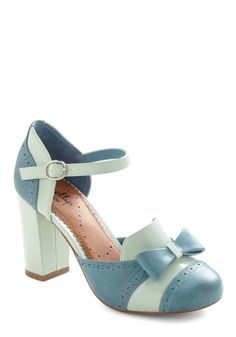 For Your Information Heel by Shellys of London - Blue, Bows, Work