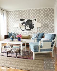 A Rabat Stenciled accent wall in a living room adds great visual interest to the space! http://www.cuttingedgestencils.com/moroccan-stencil-pattern-3.html