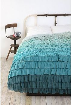 aahh.. ruffles.. love the gradual color change. Aqua bedding Urban Outfitters