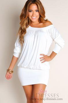Ivory Tunic Round Neck Long Sleeves Club Dresses