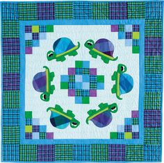"Totally Turtles by Heidi Pridemore for Quiltmaker Nov/Dec '14. 45"" x 45"" crib with piecing and easy fusible applique. Convenient kits available."