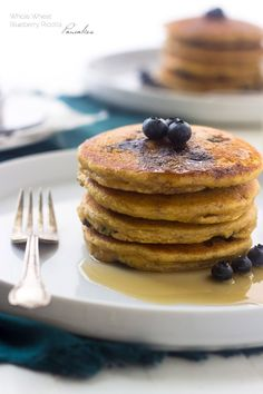 Whole Wheat Ricotta Blueberry Pancakes - The biggest, fluffiest and creamiest pancakes you will EVER eat! | Foodfaithfitness.com | #breakfast #pancake #recipe #spon @FoodFaithFit