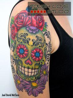 Green Sugar Skull Tattoo with Flowers | Joel David McClure | Tough Love Studio