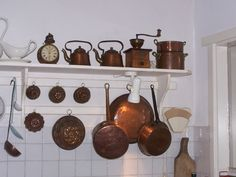 Dutch kitchen copper pots and coffee grinders