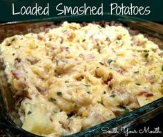 Loaded Smashed Potatoes... bacon and garlic and sour cream and cheese and chives OH MY!