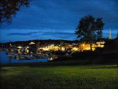 Camden Maine Harbor at night camden main, camden harbor