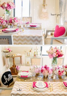 Valentine Dinner...love the color combo of white, gold, and pink.