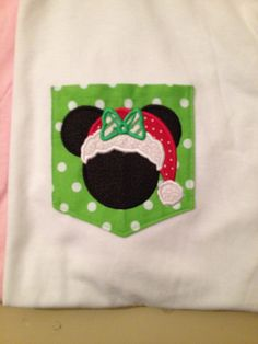 Adult Size Christmas Minnie/ Mickey  Mouse Pocket Tee by psBlessed, $25.00