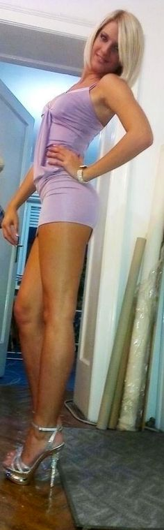 Great looking long legs escaping sexy short dress!!